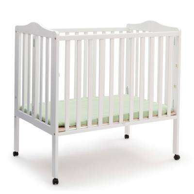 Portable White Folding Crib with Mattress