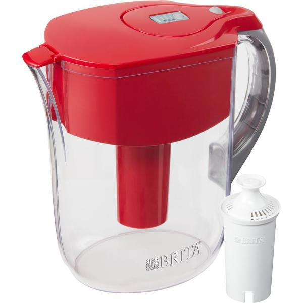 10-Cup Large Water Filter Pitcher in Red, BPA Free