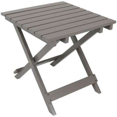 Gray Square Wood Outdoor Side Table