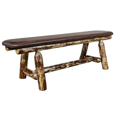 Glacier Country Collection 18 in. H Brown Wooden Bench with Saddle Pattern Upholstered Seat, 5 ft. Length