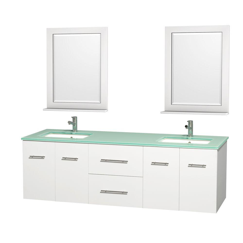 Wyndham Collection Centra 72 In Double Vanity In White With Glass Vanity Top In Green Square