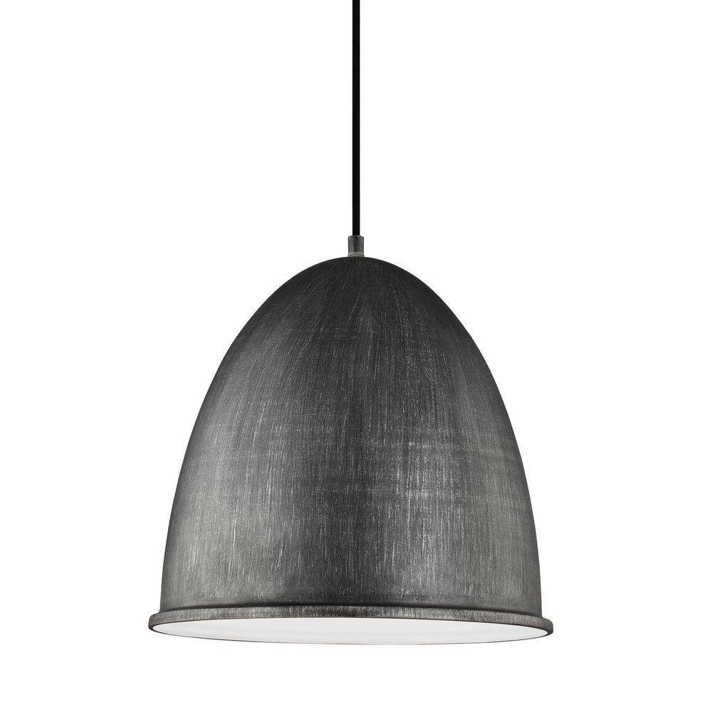 Hudson Street 15.75 in. W. 1-Light Weathered Gray Pendant
