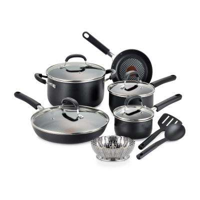 OptiCook Non-Stick 12-Piece Aluminum Cookware Set in Black