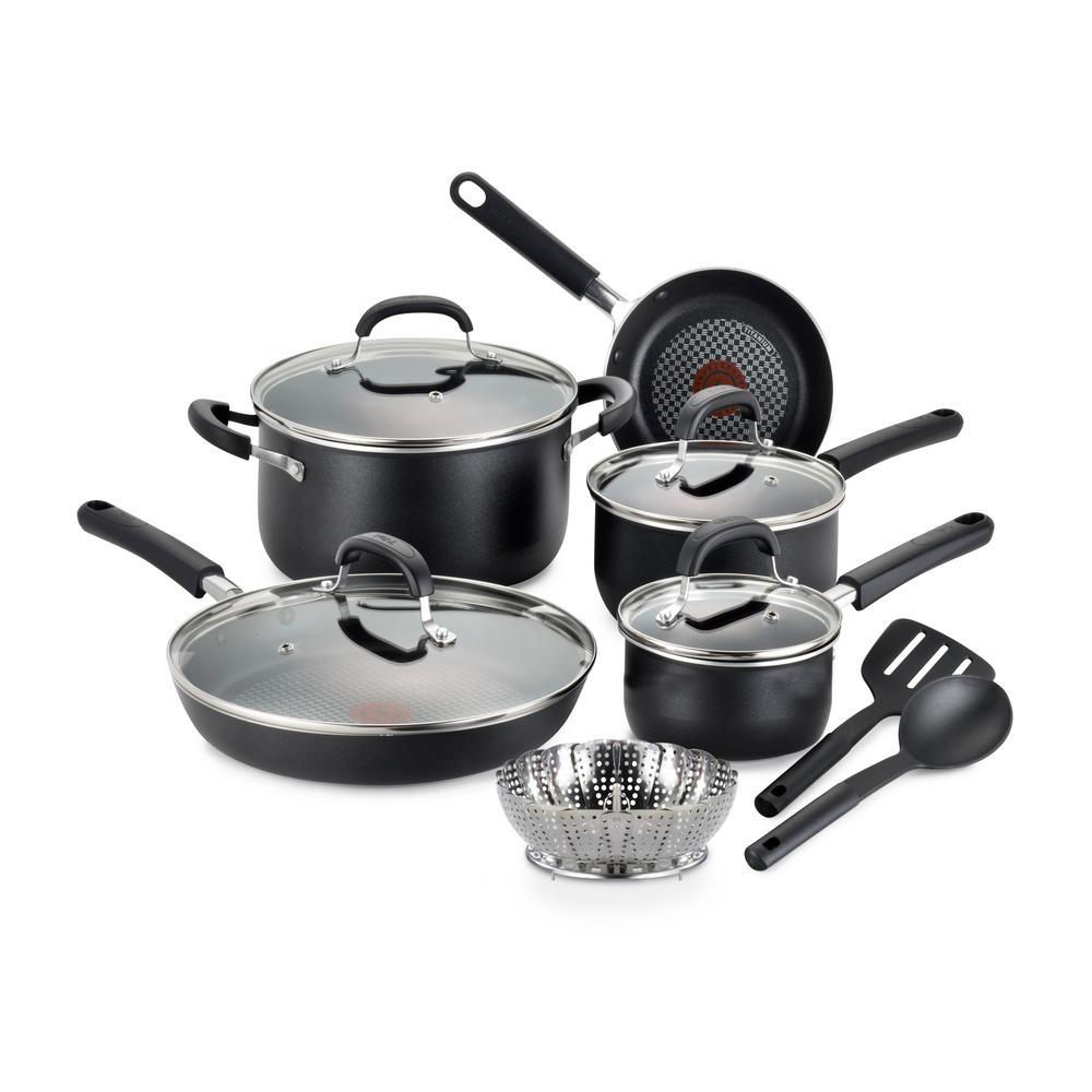 T-fal OptiCook Non-Stick 12-Piece Aluminum Cookware Set in Black