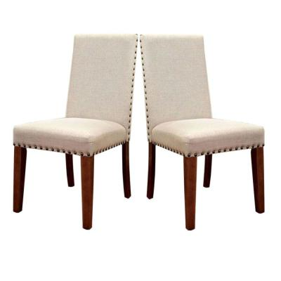 Walsh Industrial Natural Wood Side Chair with Flax Fabric (Set of 2)