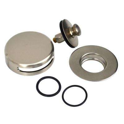 QuickTrim Push Pull Bathtub Stopper and Innovator Overflow Kit, Brushed Nickel