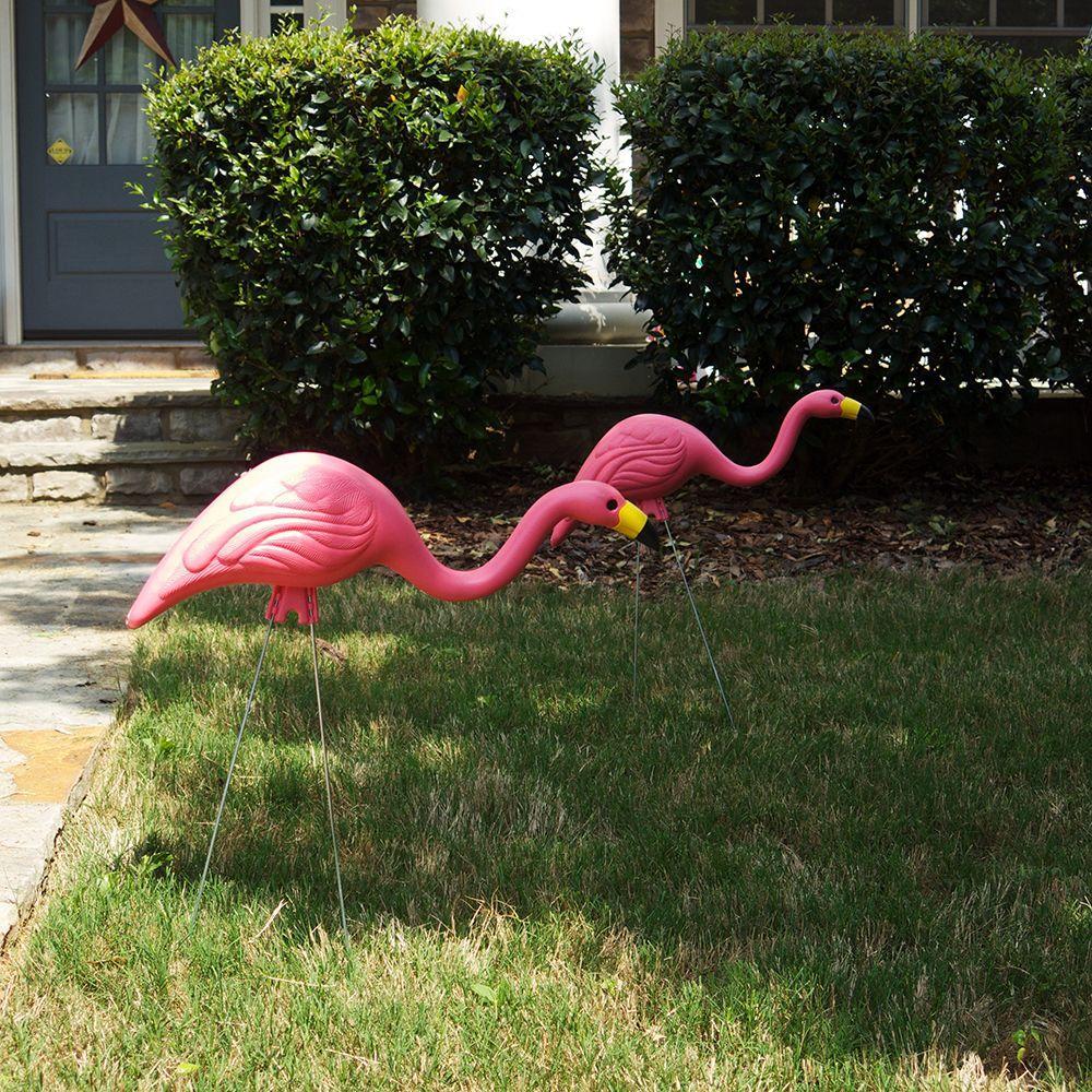 24 Pack Pink Flamingo Plastic Yard Garden Decoration Lawn Art Ornament Statue