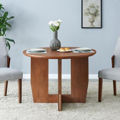Briella Brown with Silver Round Dining Table