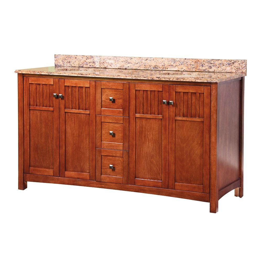 Home Decorators Collection Knoxville 61 in. W x 22 in. D Double Bath Vanity in Nutmeg with Stone Effects Vanity Top in Bordeaux