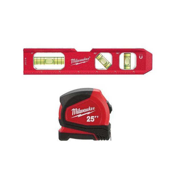 7 in. Billet Torpedo Level W/ 25 ft. Compact Tape Measure