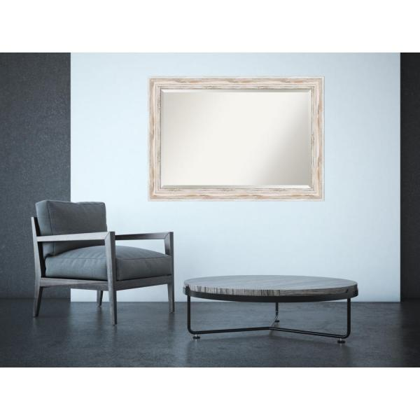 Alexandria White Wash Wood 41 in. W x 29 in. H Distressed Framed Mirror