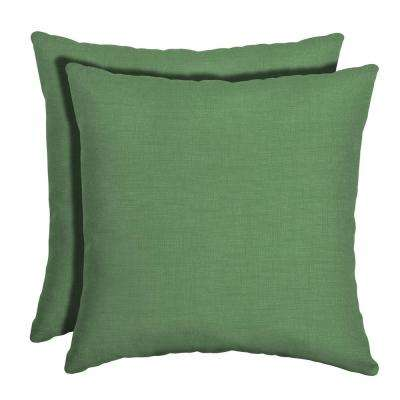 16 in. x 16 in. Moss Leala Texture Square Outdoor Throw Pillow (2-Pack)