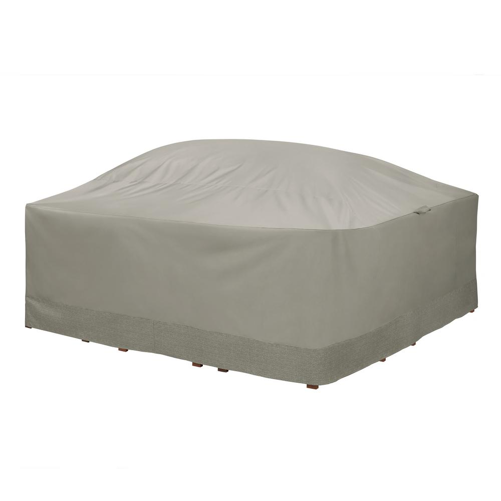 Weekend 90 in. Outdoor Square Table and Chair Cover with Integrated Duck Dome in Moon Rock