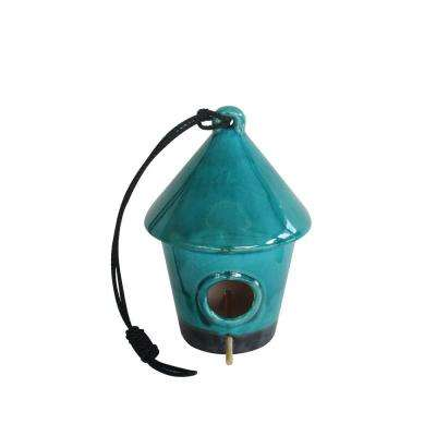 10 in. Hanging Turquoise Birdhouse