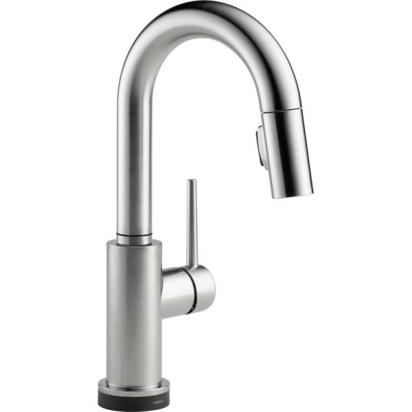 Trinsic Single-Handle Pull-Down Sprayer Bar Faucet Featuring Touch2O Technology in Arctic Stainless