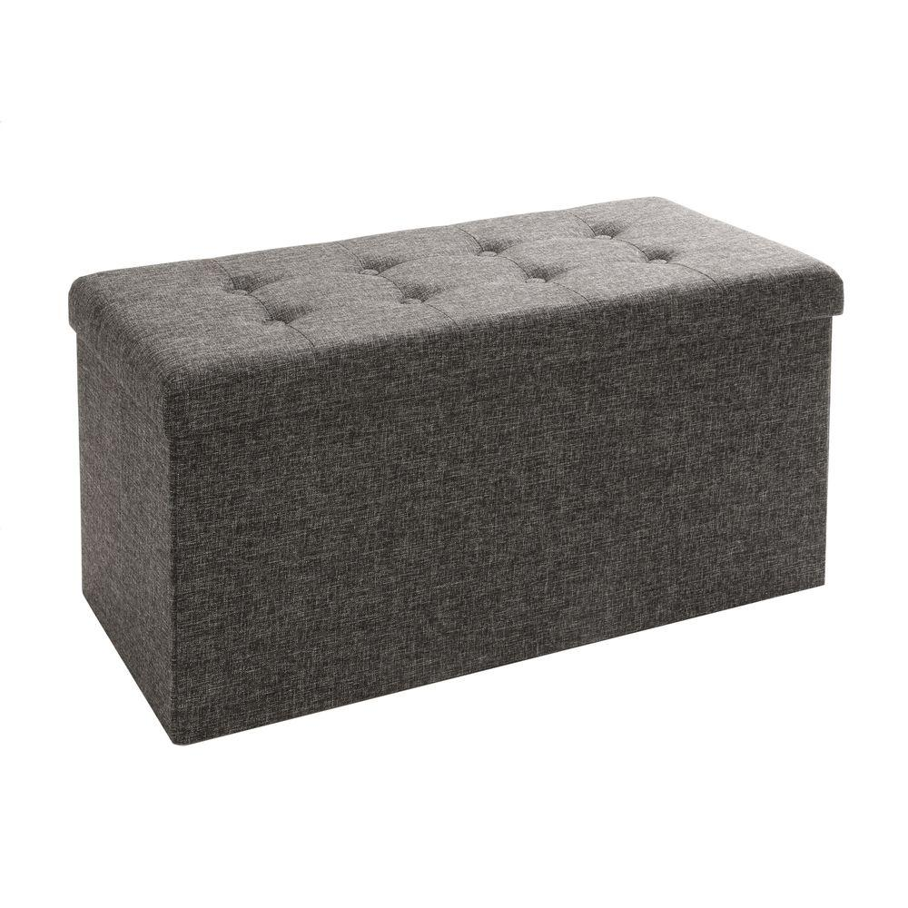 Seville Clics Charcoal Gray Foldable Storage Bench Footrest Coffee Table Ottoman