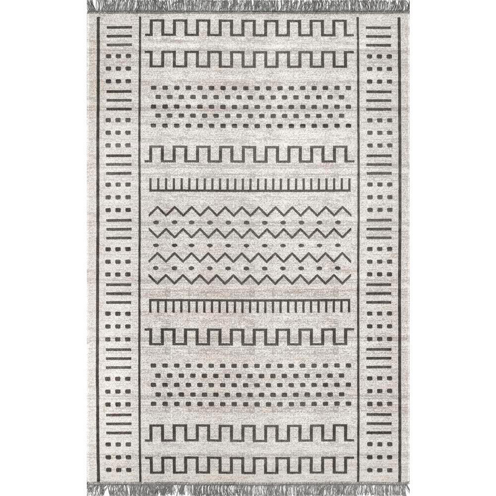 Cora Tribal Tassel Light Gray 8 ft. x 10 ft. Indoor/Outdoor Area Rug