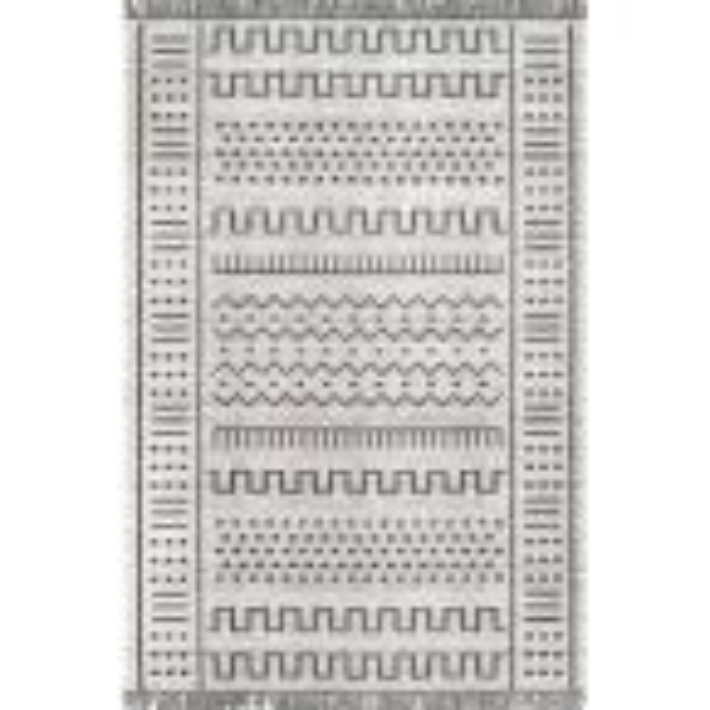 Cora Tribal Tassel Light Gray 9 ft. x 12 ft. Indoor/Outdoor Area Rug