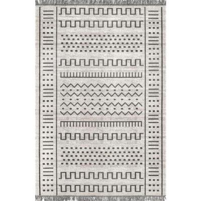 Cora Tribal Tassel Light Gray 6 ft. Indoor/Outdoor Square Rug
