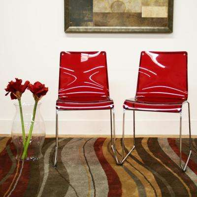 Lino Red Finished Plastic Dining Chairs (Set of 2)