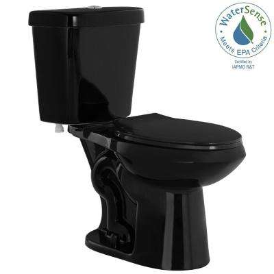 2-piece 1.1 GPF/1.6 GPF High Efficiency Dual Flush Elongated Toilet in Black