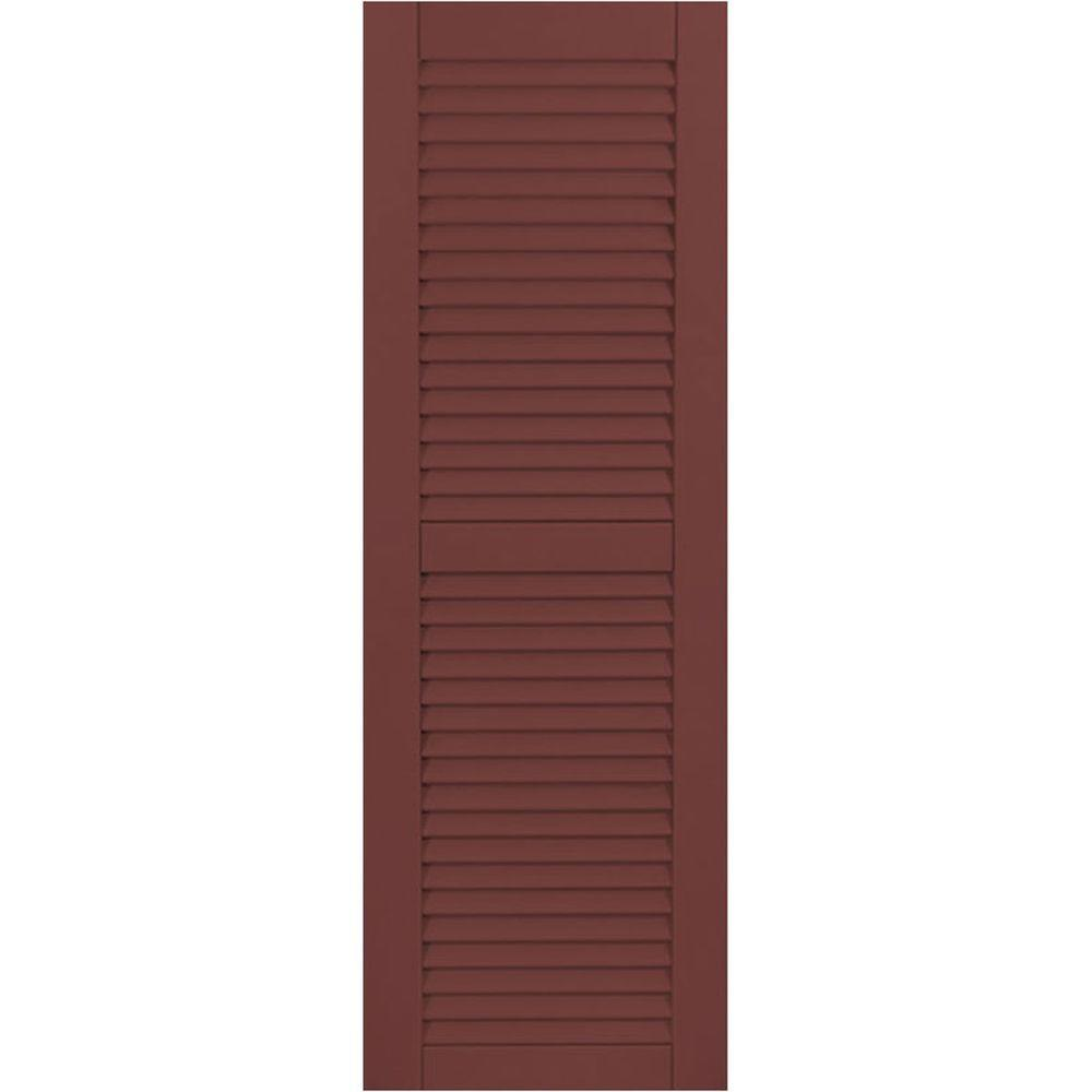 Ekena Millwork 12 in. x 41 in. Exterior Composite Wood Louvered Shutters Pair Cottage Red