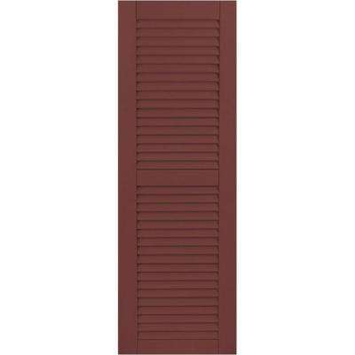 15 in. x 53 in. Exterior Composite Wood Louvered Shutters Pair Cottage Red