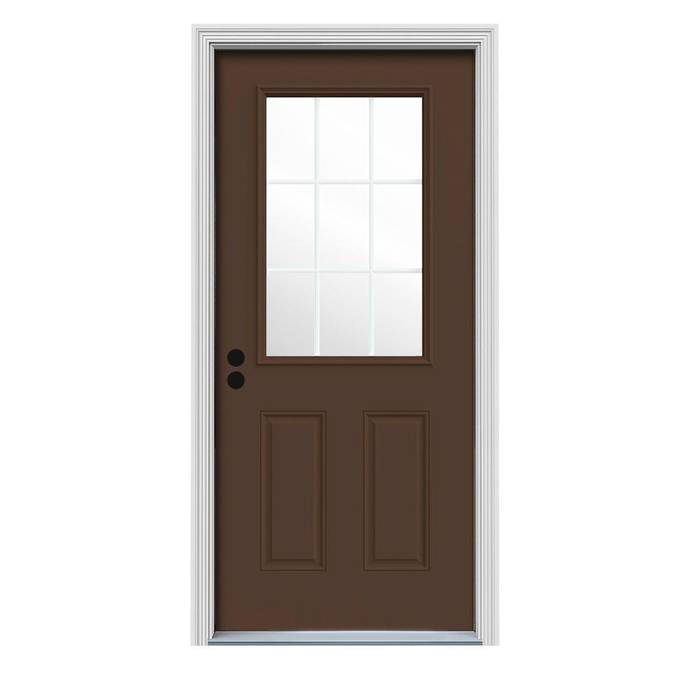 30 in. x 80 in. 9 Lite Dark Chocolate Painted Steel Prehung Right-Hand Inswing Front Door w/Brickmould