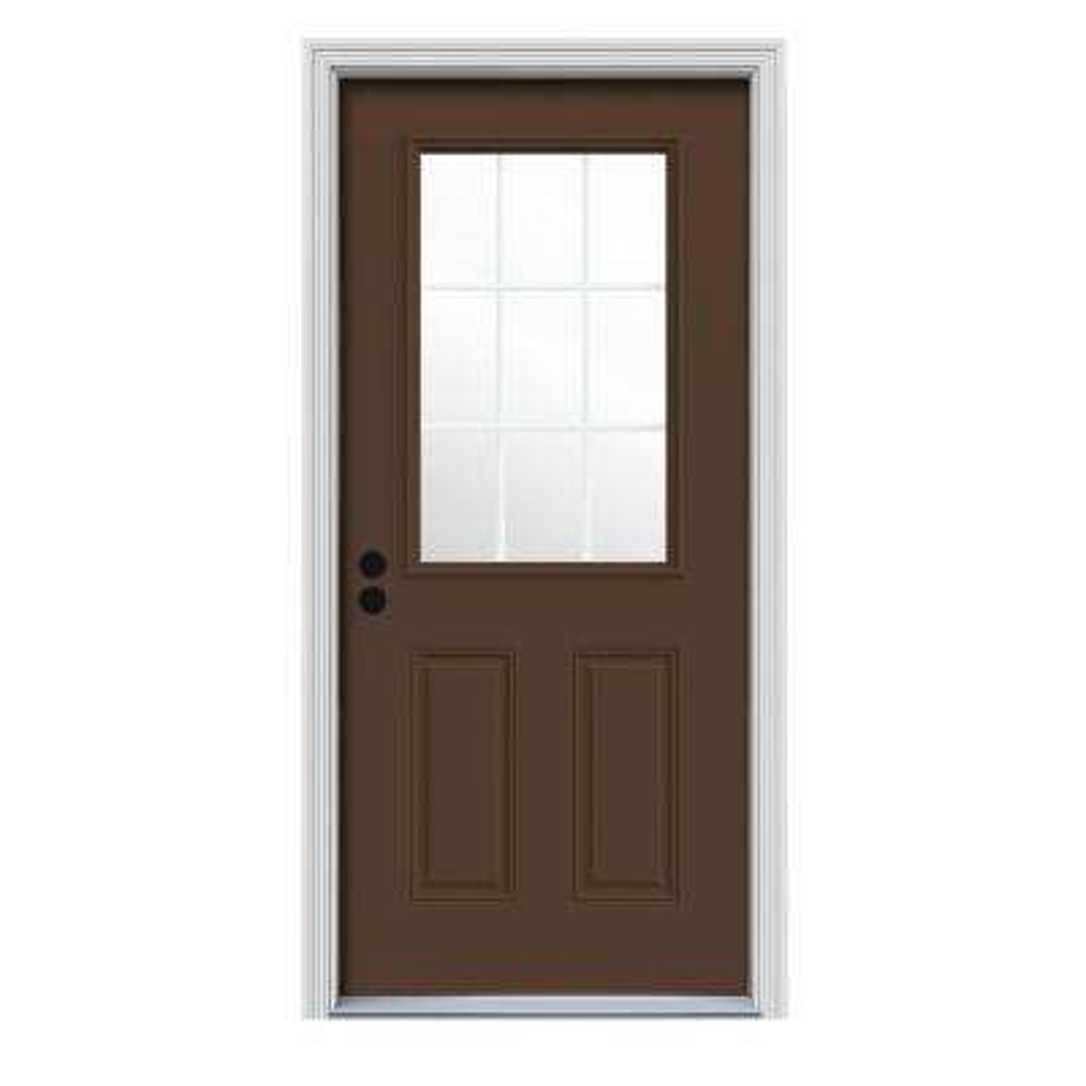 36 in. x 80 in. 9 Lite Dark Chocolate Painted Steel Prehung Right-Hand Inswing Front Door w/Brickmould