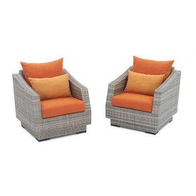 Cannes Patio Club Chair with Tikka Orange Cushions (2-Pack)