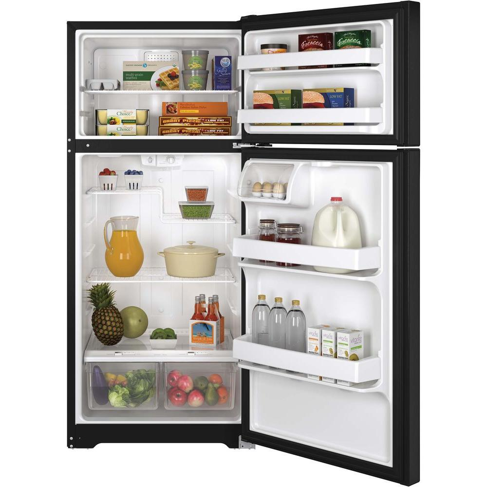 Ge 15 5 Cu Ft Top Freezer Refrigerator In Black Gts16dthbb The Home Depot