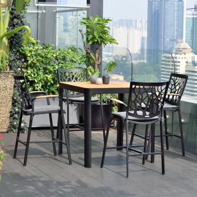 Portals Black 5-Piece Outdoor Patio Aluminum Bar Set and Natural Teak Wood Accent Top