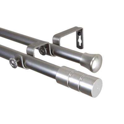 120 in. - 170 in. Satin Nickel Telescoping Double Curtain Rod Kit with Theo Finial