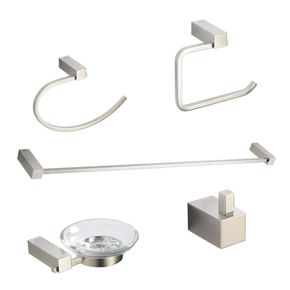 Fresca Ottimo Brass 5-Piece Bathroom Accessory Set in Brushed Nickel ...