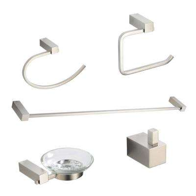 Ottimo Brass 5-Piece Bathroom Accessory Set in Brushed Nickel