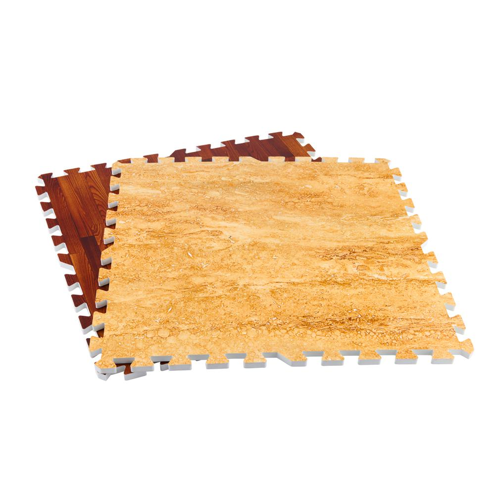 TrafficMASTER Brown/Travertine 24 in. x 24 in. x 0.47 in. Wood All Purpose Flooring (4-Pack)