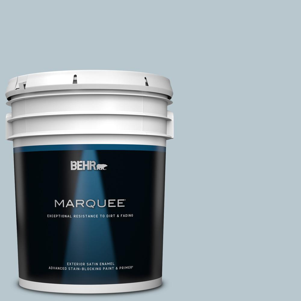 Behr Marquee 5 Gal 560e 3 Silver Strand Satin Enamel Exterior Paint And Primer In One 945005 The Home Depot