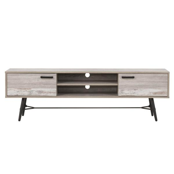 Aurora 71 in. Distressed Light Grey and White Duotone Wood TV Stand Fits TVs Up to 80 in. with Storage Doors