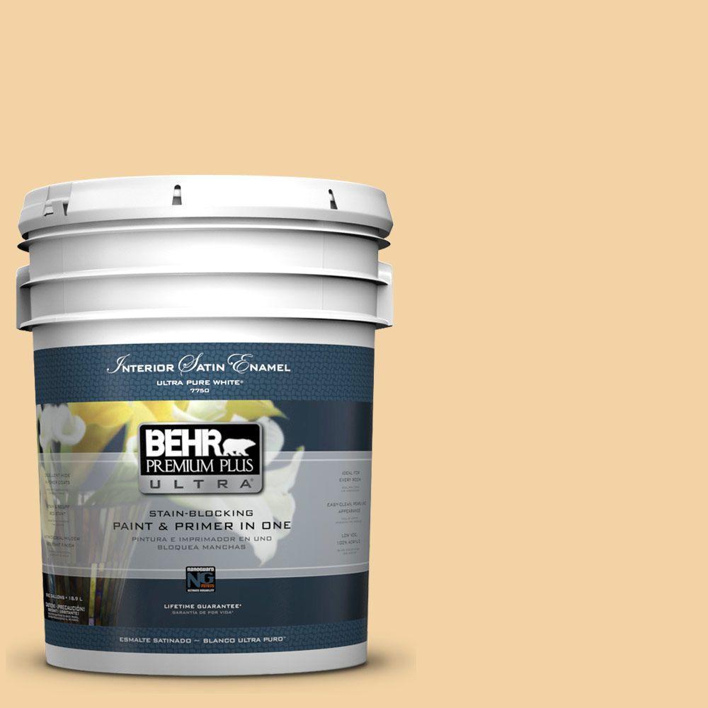 BEHR Premium Plus Ultra 5-gal. #ECC-50-1 Sunbath Satin Enamel Interior Paint
