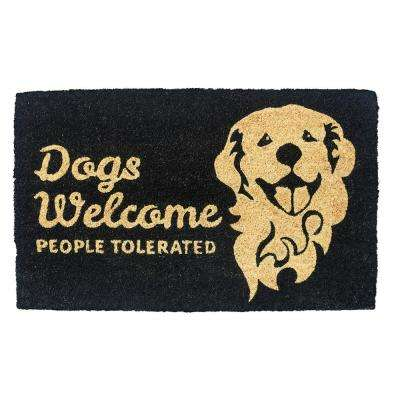 People Tolerated 28 in. x 17 in. Non-Slip Coir Door Mat