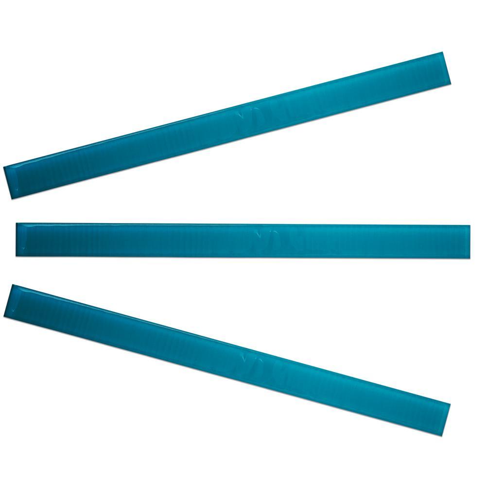 Vitre Aqua 15 in. x 1 in. Glass Pencil Tile Trim (3-Pack)