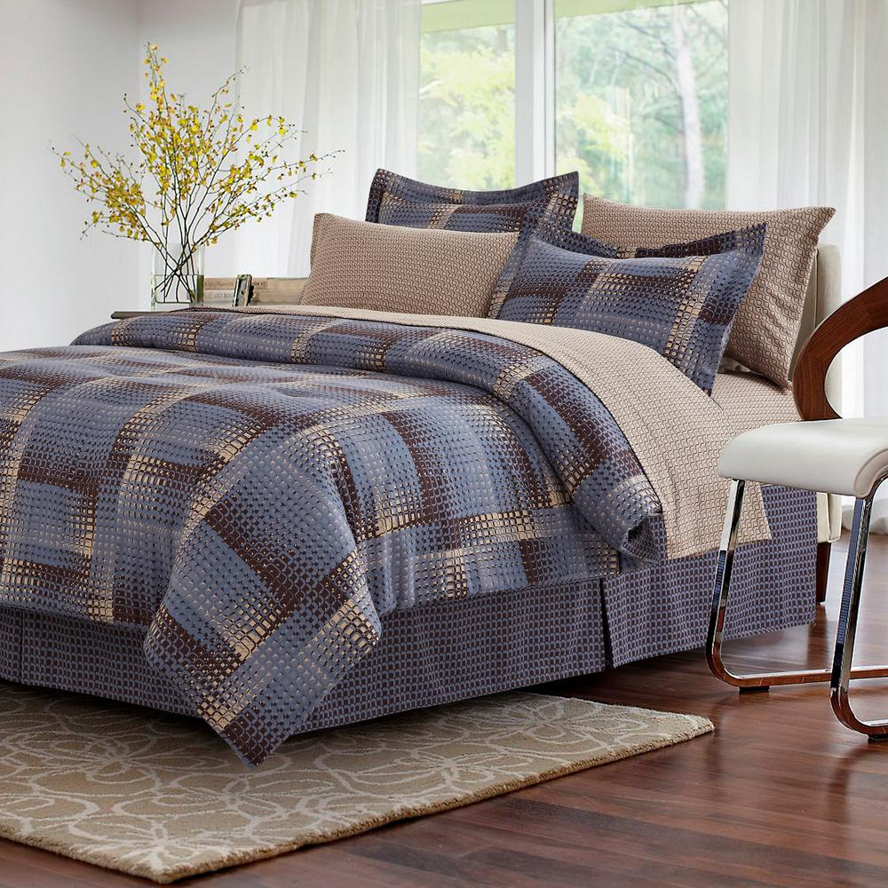 8 piece bedding set brown amp grey shadow box brown 8 bed in bag set 3948