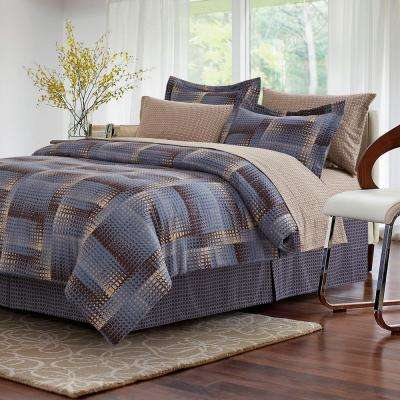 Shadow Box Brown 8-Piece King Bed-in-Bag Set