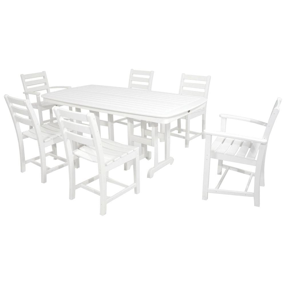 Monterey Bay Classic White 7-Piece Plastic Outdoor Patio Dining Set
