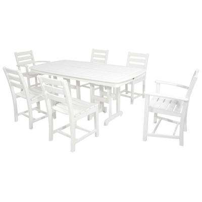 Monterey Bay Classic White 7 Piece Plastic Outdoor Patio Dining Set.  Classic White; Vintage Lantern; Tree House