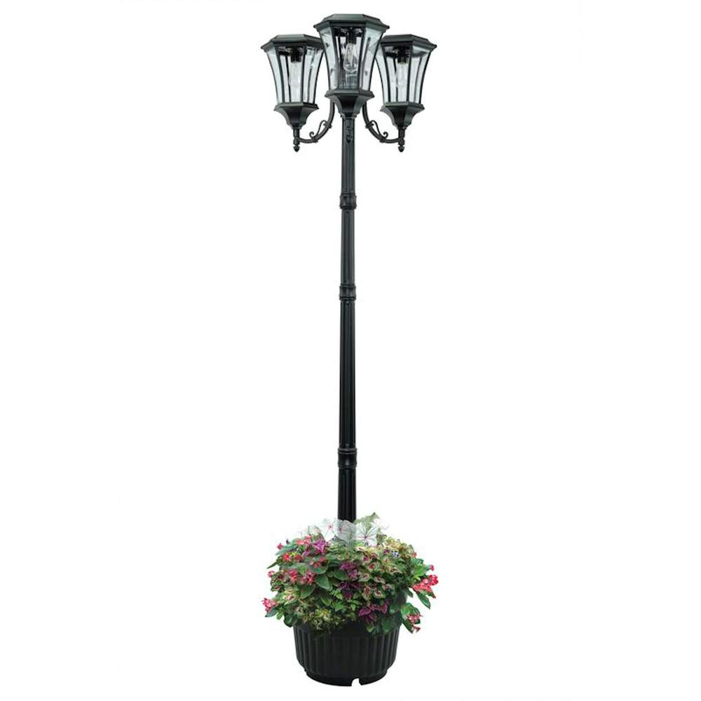 Sunray Avalon 84 In 3 Head Black Outdoor Solar Lamp Post And Planter