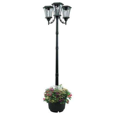 Avalon 84 in. 3-Head Black Outdoor Solar Lamp Post and Planter