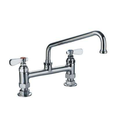 8 in. 2-Handle Deck-Mount Bridge Utility Faucet in Polished Chrome