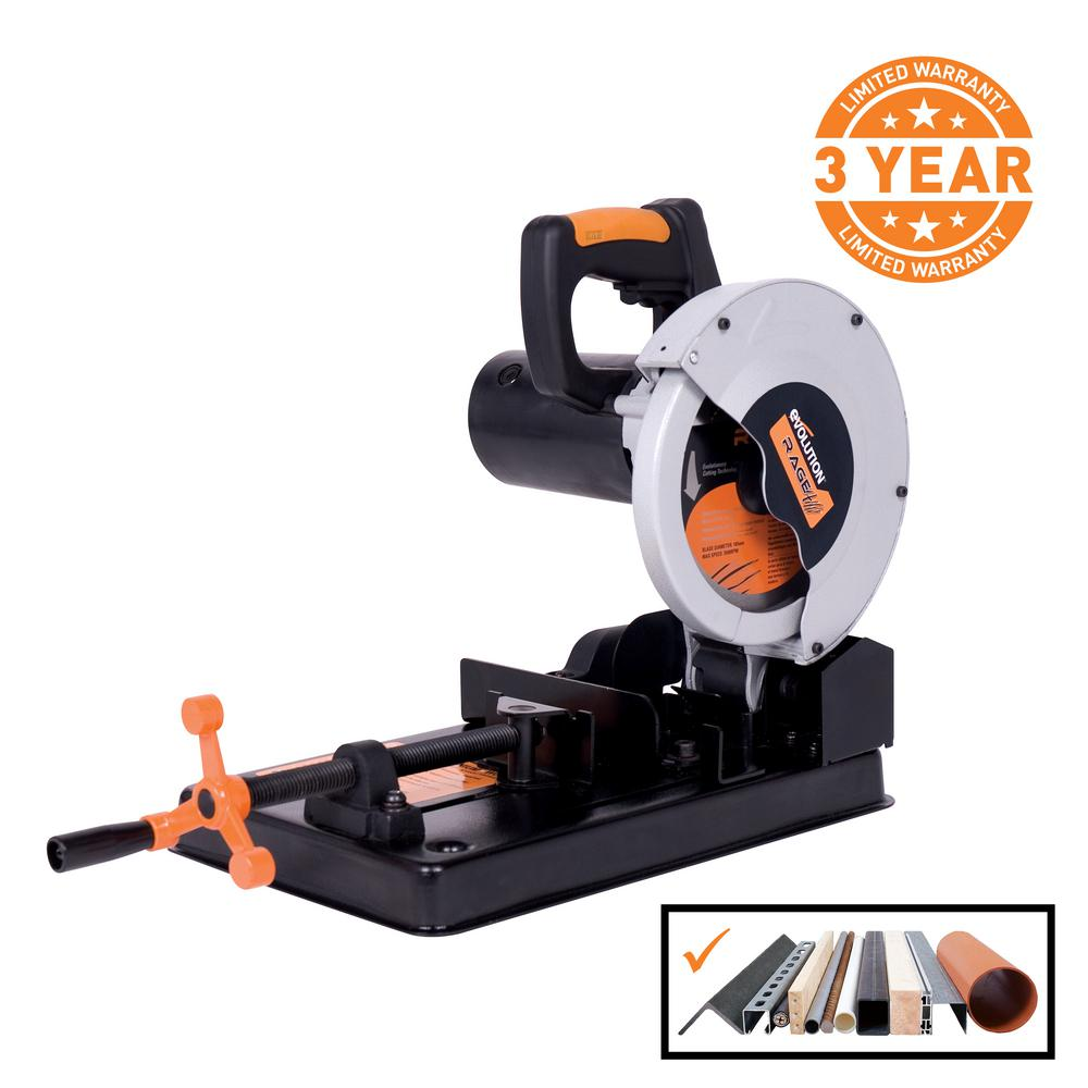 metal cutting power tools. evolution power tools 10 amp 7-1/4 in. multi-purpose chop metal cutting