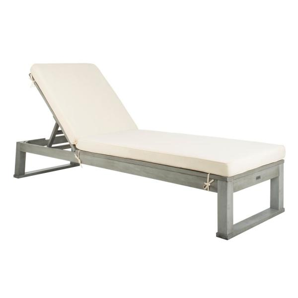 Safavieh Solano Ash Grey 1 Piece Wood Outdoor Chaise Lounge Chair With White Cushion Pat7024e The Home Depot